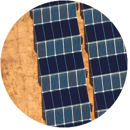 tech - aerial view of solar panels